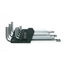 Ключи шестигранные, набор 9 шт, шаровидные наконечники, с магнитом, Neo