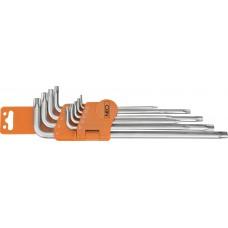 Набор ключей Torx  с отверстием (ТS10-ТS50), 9шт.,  Neo