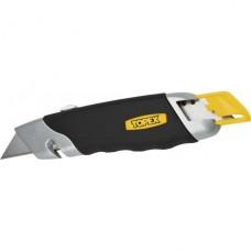 Нож с выдвижным трапецивидным лезвием, Topex